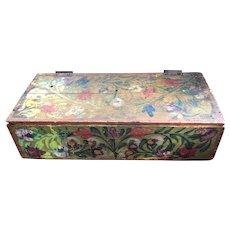 Large Rustic Folk Art Hand Painted Box - Tunisian