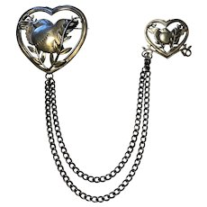 Vintage Coro Double Brooch - Doves in Hearts - 1940s - 50s