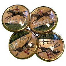 Steeplechase Themed Cufflinks  Reverse Hand Painted Glass Crystals