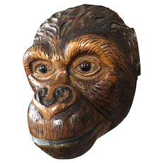 Antique Carved Wooden Monkey Wall Pocket