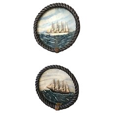 "Pair of Antique Clipper Ship Dioramas with Carved Wooden ""Rope"" Frame"