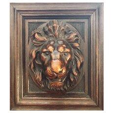Magnificent Lion - Carved Wooden Plaque