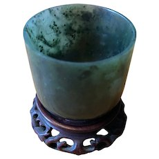 Chinese Spinach Green Jade Cup on Stand - Circa 1890