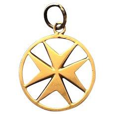 18K Gold Maltese Cross Charm