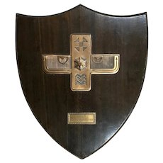 Yale Fraternity Shield Shape Plaque - Wood and Bronze - 1936