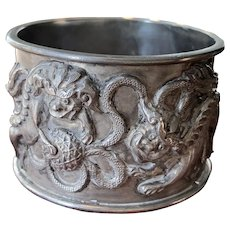Fine Chinese Export Silver Napkin Ring with Foo Dogs & Flags