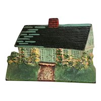 Cast Iron - Hand Painted Doorstop Cottage / House
