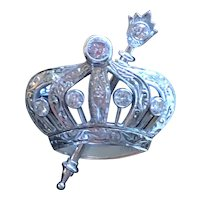 Wonderful 18K White Gold & Diamond Pin with Crown and Scepter - Order of Eastern Star - 1932