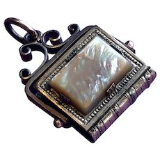 Victorian Book Form Watch Fob - Gold Plated with Mother of Pearl