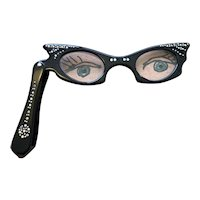 Cat's Eye Folding Glasses with Rhinestones - 1950's - Fun & Functional