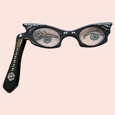 Cat's Eye Folding Glasses with Rhinestones - 1950's - Fun & Functional