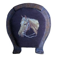 "Wooden Horseshoe shaped Foot Stool with Needlepoint Horse - ""Good Luck"""