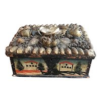 Victorian Shell Work Box with Hand Painted Scenes
