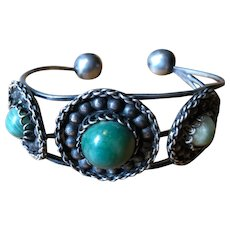 Mexican Sterling Cuff / Bangle with Cabochon Green Onyx Stones