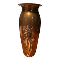 Art Nouveau Vase with Silver Overlay Flowers