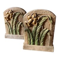 Syroco Wood Bookends with Hand Painted Daffodils circa 1940's