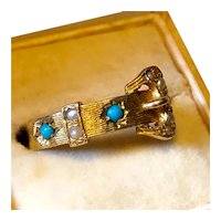 9ct Gold Buckle Ring with Pearls and Turquoise - 1965