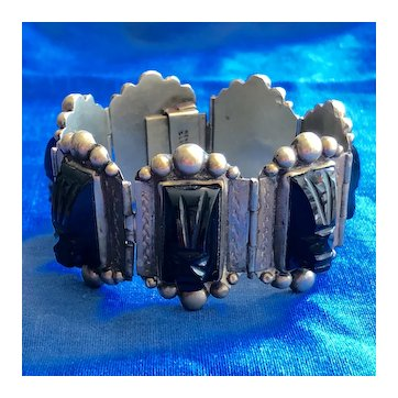 Sterling Mexican Bracelet with Carved Black Onyx Cameos