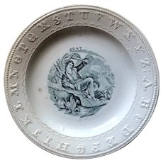 July ABC Plate - Staffordshire Pottery Mid 19th Century
