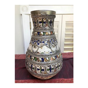 Hand Painted Moroccan Vase with Nickel-Silver Filigree - City of Fes