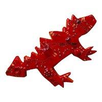 Large Happy Handmade Plastic Resin Dragon Pin - Artist Signed -  1986