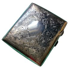 Beautifully Engraved English Silver Cigarette Case by J. Gloster Ltd. - 1922