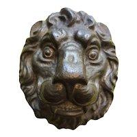 Cast Brass Lion Head Relief