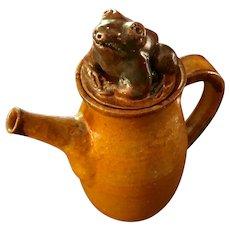 Art Pottery Lidded Jug with Frog by Margit Subak Elsohn