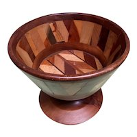 Great Looking Footed Bowl with Inlaid Woods