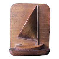 Small Carved Wooden Sailboat Plaque by Willard Odell Shepard of Waterford, Ct.