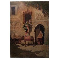 Enrique Atalaya Spanish Genre Painter - Oil on Panel - Love Scene