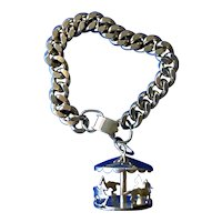 1960's Enco Charm Bracelet with Large Moving Carousel