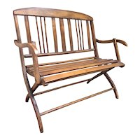 Fabulous Antique Miniature Wooden Bench - Folds Up to Store