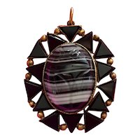 Egyptian Revival Pendant with Banded Agate Scarab & Black Onyx set in 10k Gold
