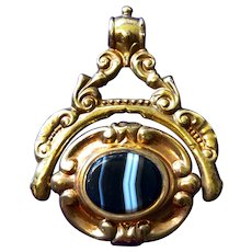 Large Early Gold Cased Swivel Seal Watch Fob - Band Agate & Carnelian