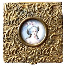 Pretty French Gilt Metal Box with Miniature of a Lady