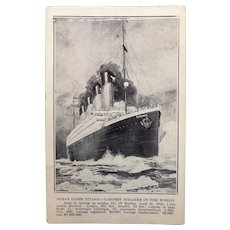Original Titanic Postcard Postmarked May 3, 1912 - Just 18 Days after the Sinking