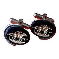 Horse Racing Glass Intaglio Cufflinks - Mid Century
