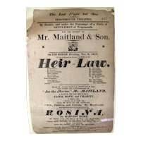 """English Broadside - Teignmouth Theatre - """"Heir at Law"""" - 1817"""