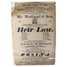 "English Broadside - Teignmouth Theatre - ""Heir at Law"" - 1817"