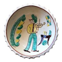 Glazed Terracotta Bowl with Man Playing the Violin
