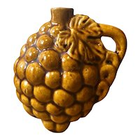 Bunch of Grapes Treacle Glaze Pottery Wine Flask / Bottle