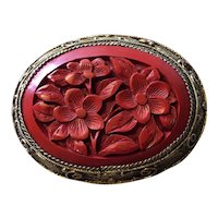 Pretty Chinese Carved Cinnabar Pin in Silver Gilt filigree Setting - Circa 1920's