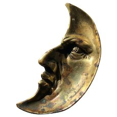 Man in the Moon Brass Victorian Pin Tray