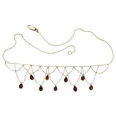Vintage Italian Teardrop Garnet 14k Gold Festoon Necklace