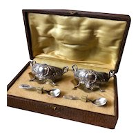 Beautiful Set of French Silver Open Salts with Swans - Circa 1910