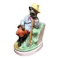 Victorian Dandy Dog Match Striker - Hand Painted Bisque
