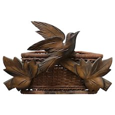 Unusual Black Forest Carved Wooden Bird on a Basket