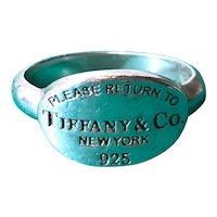 "Sterling Silver Tiffany Ring ""Please Return To Tiffany & Co New York"""