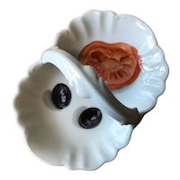 French Porcelaine de Paris Basket with Hand Painted Olives & Tomato
